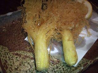皮付きヤングコーンの天ぷら